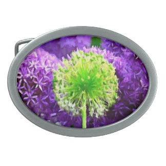 Dare to Be Different Lime Green Purple Flowers Belt Buckles