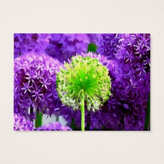 Dare to Be Different Lime Green Purple Flowers Business Card