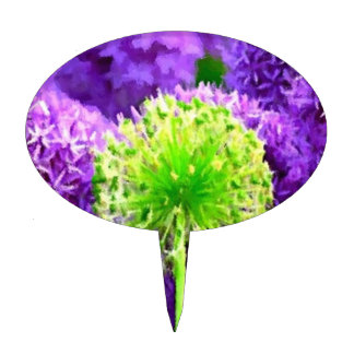 Dare to Be Different Lime Green Purple Flowers Cake Topper