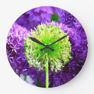 Dare to Be Different Lime Green Purple Flowers Large Clock