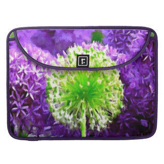 Dare to Be Different Lime Green Purple Flowers MacBook Pro Sleeve