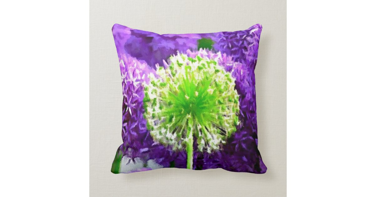 Purple And Lime Green Throw Pillows : Dare to Be Different Lime Green Purple Flowers Throw Pillow Zazzle