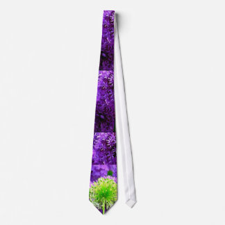 Dare to Be Different Lime Green Purple Flowers Tie