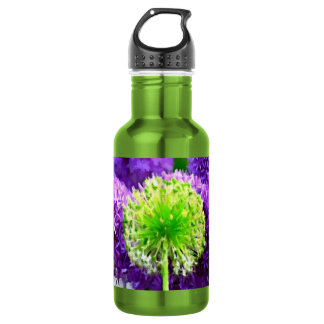 Dare to Be Different Lime Green Purple Flowers Water Bottle