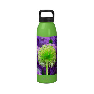 Dare to Be Different Lime Green Purple Flowers Drinking Bottle
