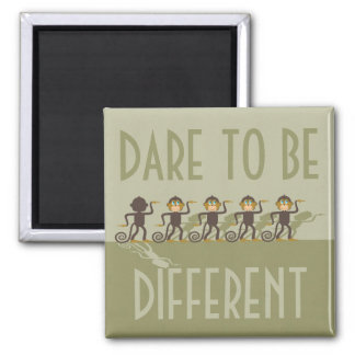 Dare to be different, monkeys, safari 2 inch square magnet