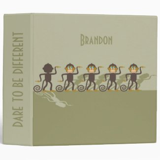 Dare to be different, monkeys, safari 3 ring binder