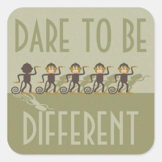 Dare to be different, monkeys, safari square sticker