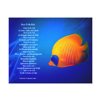 """""""Dare to be Rich""""  Blue and Orange Fish 14x11 Canvas Print"""