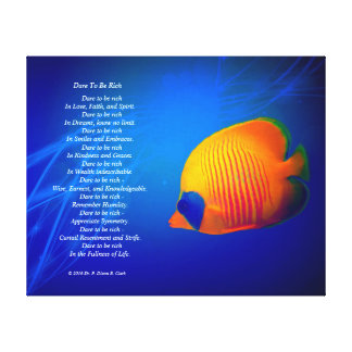 """""""Dare to be Rich""""  Blue and Orange Fish Canvas Print"""