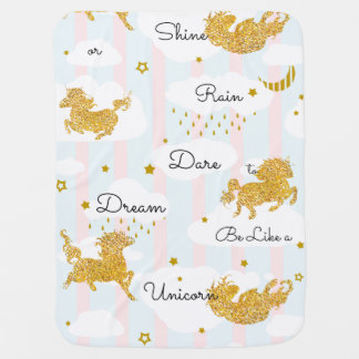 Dare to Dream Like a Unicorn Gold Glitter Receiving Blanket