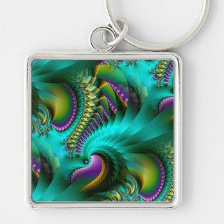 Dare to Dream Silver-Colored Square Keychain