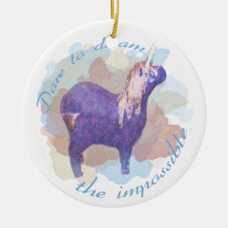 Dare to Dream the Impossible Unicorn Gifts Ceramic Ornament