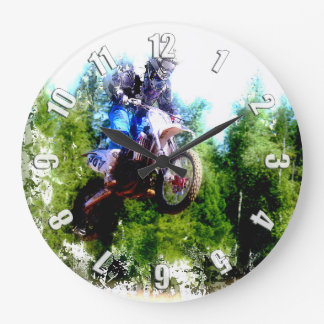 """""""Dare to Fly"""" Freestyle Motocross Rider Large Clock"""