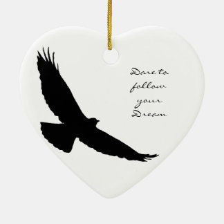 Dare to follow your Dream Hawk Silhouette Double-Sided Heart Ceramic Christmas Ornament
