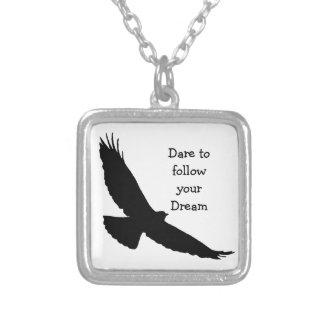 Dare to follow your Dream Hawk Silhouette Square Pendant Necklace