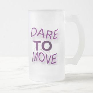 Dare To Move 16 Oz Frosted Glass Beer Mug