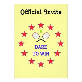 Dare to Win Tennis Custom Invitations