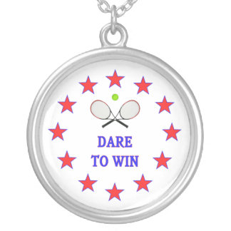 Dare to Win Tennis Silver Plated Necklace