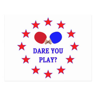 Dare You Play Ping Pong Postcard