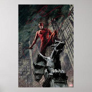 Daredevil Atop A Gargoyle Poster