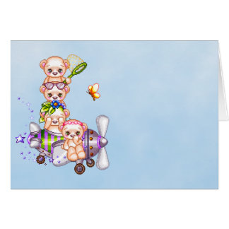 Daredevil Bears Pixel Art Airplane Cards