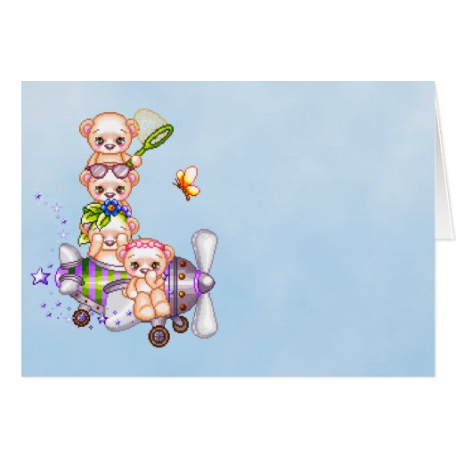 Daredevil Bears Pixel Art Airplane Stationery Note Card