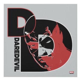 Daredevil Face In Logo Panel Wall Art