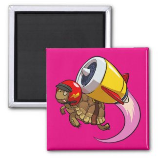 Daredevil Flying Tortoise with a Jet Pack Cartoon Magnet