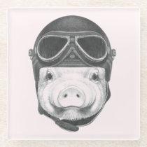Daredevil Pig Glass Coaster
