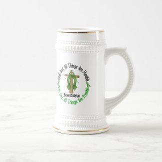 Darfur con la cruz de dios jarra de cerveza