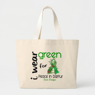 Darfur I WEAR GREEN FOR PEACE 43 Large Tote Bag