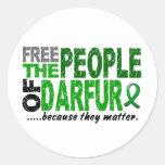 Darfur LIBERA a la GENTE Etiqueta Redonda