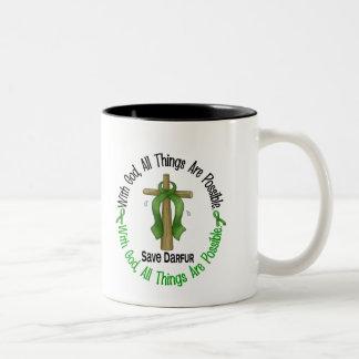 Darfur With God Cross Two-Tone Coffee Mug