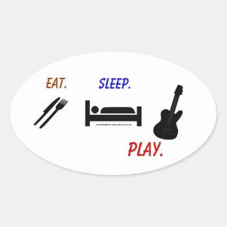 Darin Warner -eat. sleep. PLAY. Oval Sticker