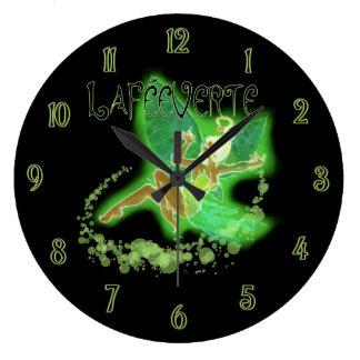 Dark Absinthe Fairy 2 Large Clock