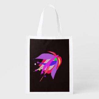 Dark Abstract Flower Reusable Grocery Bag