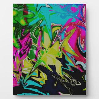 Dark Abstract Molten Color Drip Plaque