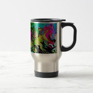 Dark Abstract Molten Color Drip Travel Mug