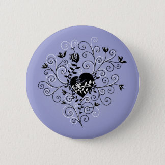 Dark Abstract Whimsical Fixed Broken Heart Button