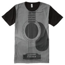 Dark Acoustic Guitar All-Over-Print T-Shirt