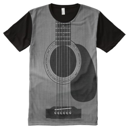 Dark Acoustic Guitar All_Over_Print T_Shirt