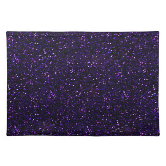 Dark Amethyst Purple Glitter Cloth Placemat