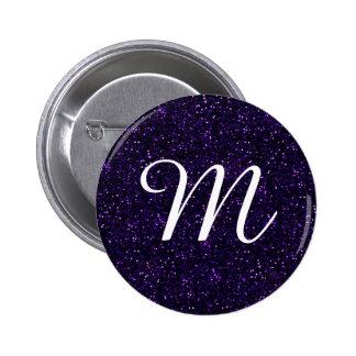 Dark Amethyst Purple Glitter Pinback Button