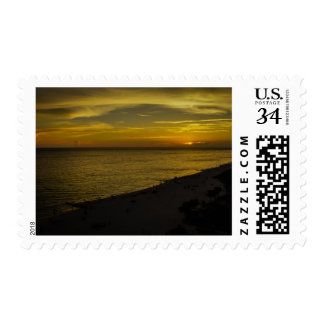 Dark and Beautiful Sunset on Florida Beach Postage