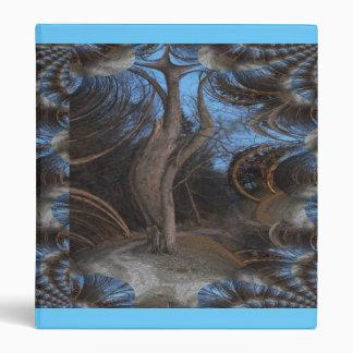 Dark and Eerie Fractal Traced Tree 3 Ring Binder