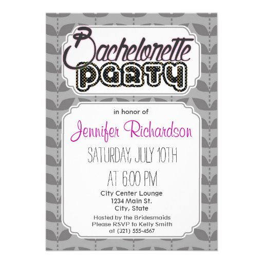 Dark and Light Gray Retro Leaf Pattern Personalized Announcements