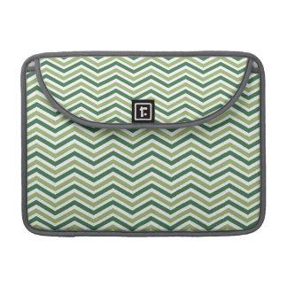 Dark and Light Green, White Chevron Stripes MacBook Pro Sleeve