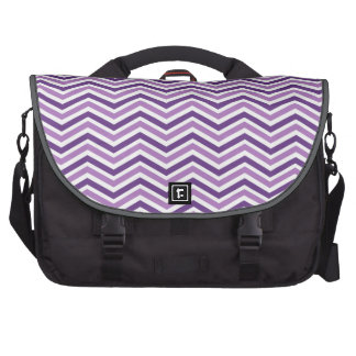 Dark and Light Purple, White Chevron Stripes Laptop Bag