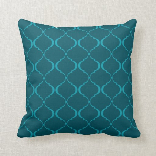 Dark And Light Teal Moroccan Pattern Throw Pillow Zazzle